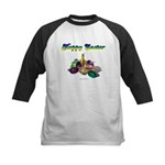 Happy Easter Bunny and Basket Kids Baseball Jersey