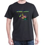 Happy Easter Bunny and Basket Black T-Shirt