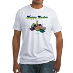 Happy Easter Bunny and Basket Fitted T-Shirt