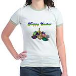 Happy Easter Bunny and Basket Jr. Ringer T-Shirt