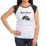 Happy Easter Bunny and Basket Women's Cap Sleeve T