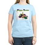 Happy Easter Bunny and Basket Women's Pink T-Shirt