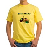 Happy Easter Bunny and Basket Yellow T-Shirt