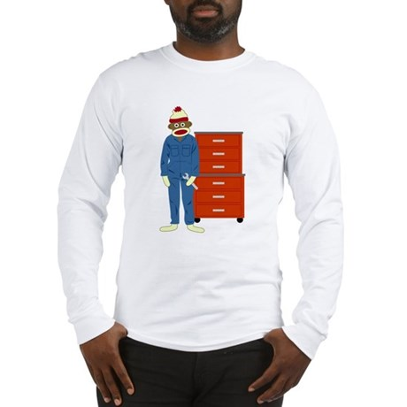 Sock Monkey Mechanic Long Sleeve T-Shirt