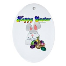 Easter Bunny Happy Easter Oval Ornament