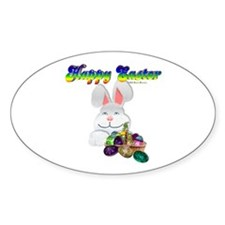 Easter Bunny Happy Easter Oval Decal