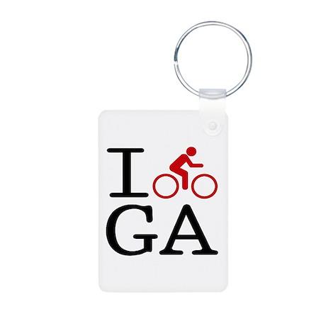 I Bike GA Aluminum Photo Keychain