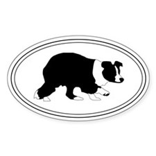 Stalking Border Collie Oval Decal