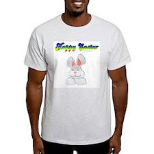 """Happy Easter"" Bunny Ash Grey T-Shirt"
