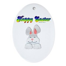 """""""Happy Easter"""" Bunny Oval Ornament"""