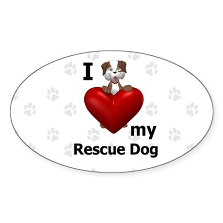 I Love My Rescue Dog Sticker (Oval 50 pk)
