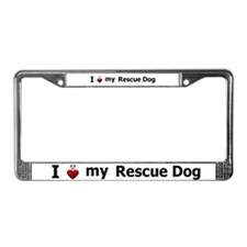 I Love My Rescue Dog License Plate Frame