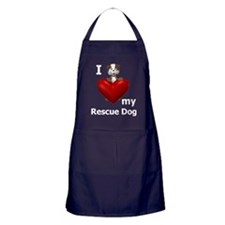 I Love My Rescue Dog Apron (dark)