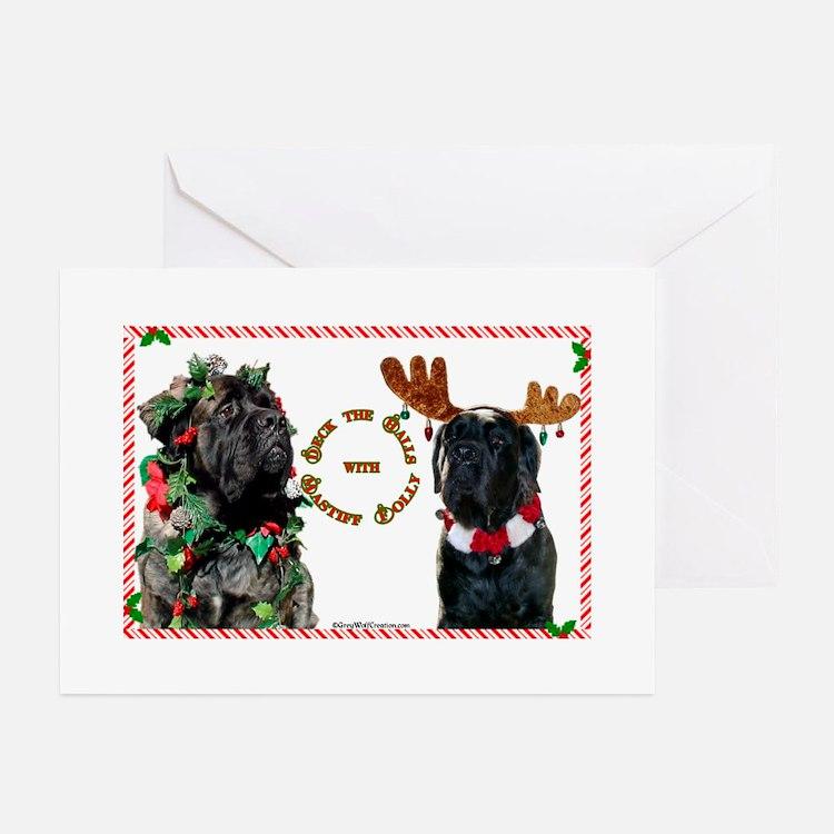 Mastiff XMas 46 Greeting Cards (Pk of 10)