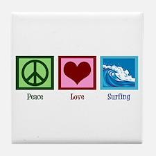 Peace Love Surfing Tile Coaster