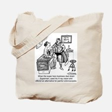 A Super Hero Gives a Colonoscopy Tote Bag