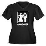 Game Over Women's Plus Size V-Neck Dark T-Shirt