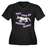Kidney Women's Plus Size V-Neck Dark T-Shirt