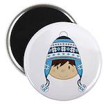 Cute Kid in Wooly Hat Magnet