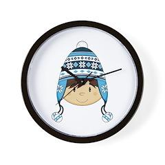 Cute Boy in Wooly Hat Wall Clock