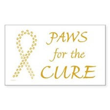 Gold Paws Cure Rectangle Decal