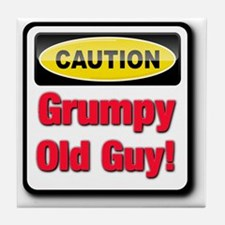 Caution: Grumpy Old Guy Tile Coaster