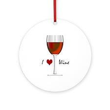 """I Love Wine"" Ornament (Round)"
