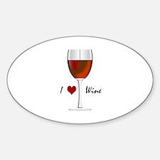 """I Love Wine"" Oval Decal"