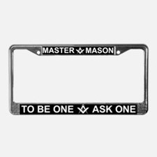 Masonic Master Mason White Letters License Frame