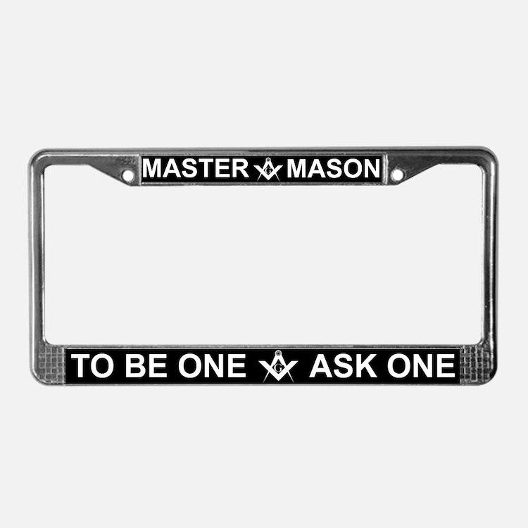 Masonic Master Mason White Letters License Frame