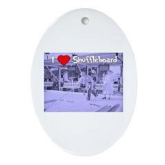 I Love Shuffleboard Oval Ornament