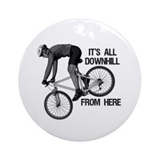 Downhill Mountain Biker Ornament (Round)