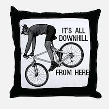 Downhill Mountain Biker Throw Pillow