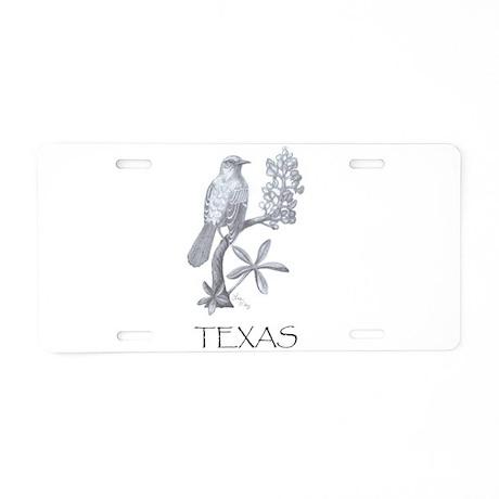 Texas Mockingbird/Bluebonnet Aluminum License Plat