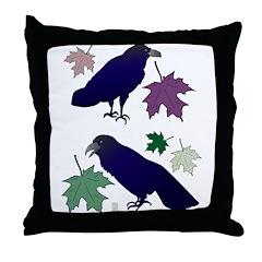 Two Ravens Throw Pillow