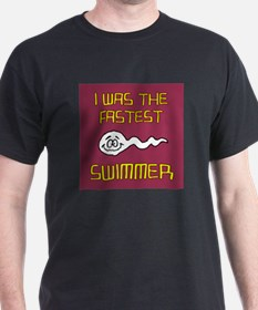 I Was The Fastest Swimmer Black T-Shirt