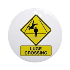 Luge Crossing Sign Ornament (Round)