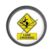 Luge Crossing Sign Wall Clock