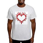 Tribal Heart (Red 3D) Ash Grey T-Shirt