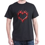 Tribal Heart (Red 3D) Black T-Shirt