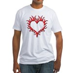 Tribal Heart (Red 3D) Fitted T-Shirt