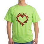 Tribal Heart (Red 3D) Green T-Shirt