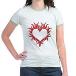 Tribal Heart (Red 3D) Jr. Ringer T-Shirt