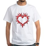 Tribal Heart (Red 3D) White T-Shirt