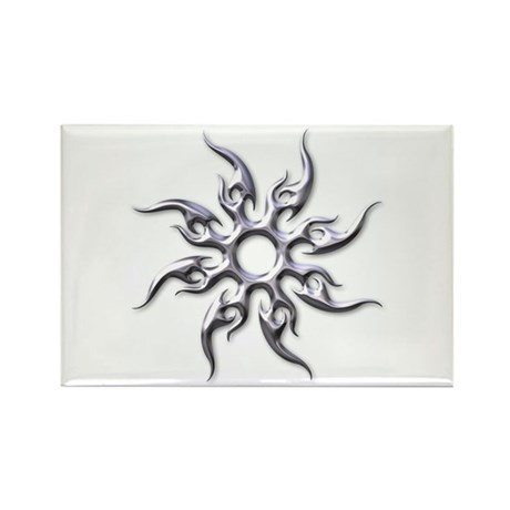 Tribal Sun (Chrome 3D) Rectangle Magnet