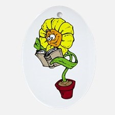 Cute Library book plants gardening Oval Ornament
