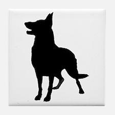 German Shepherd Silhouette Tile Coaster