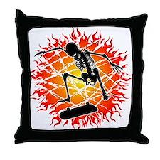 skeleton kickflip Throw Pillow