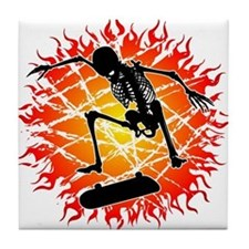skeleton kickflip Tile Coaster