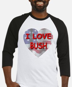 I Love Bush Flag Heart Baseball Jersey